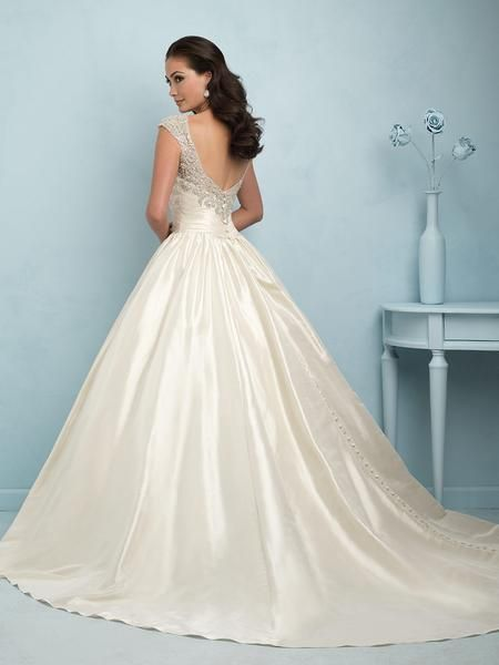 Allure Bridals 9204 Ball Gown Wedding Dress with Beaded Cap Sleeves ...