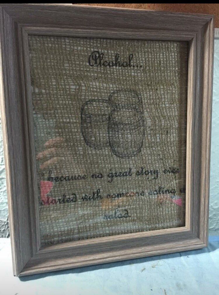 A Personal Favorite From My Etsy Shop Https Www Etsy Com Listing 234434293 Alcohol No Good Story Ever Started With Printing On Burlap Alcohol Beer Time