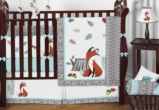 Sweet Jojo Turquoise Gray Nature Aztec Forest Fox Baby Boy Girl