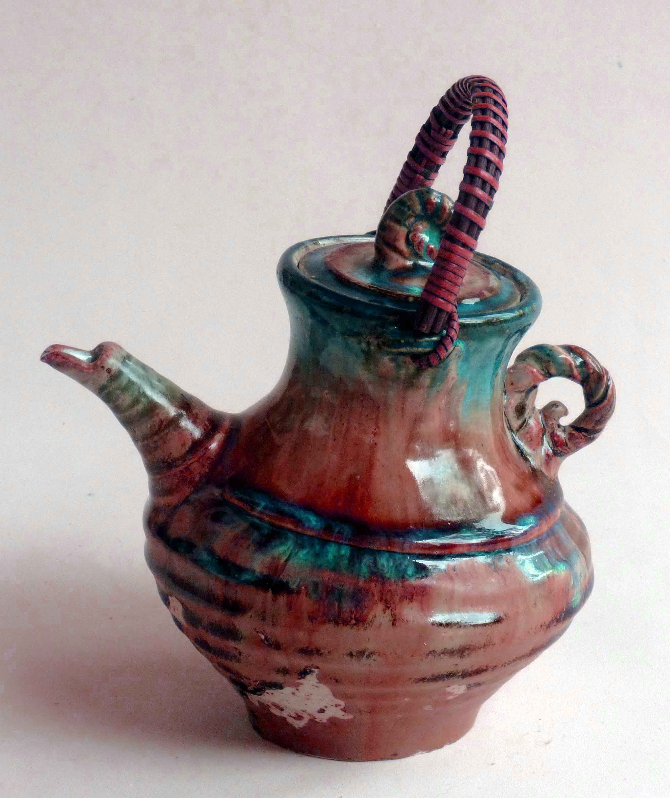 M.Wein Copper red Leaning Tea pot Stoneware cone 10-11