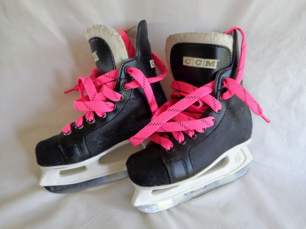 Champion 90 CCM Ice Skates Youth Boys Size 12 Black with Pink Laces #Champion