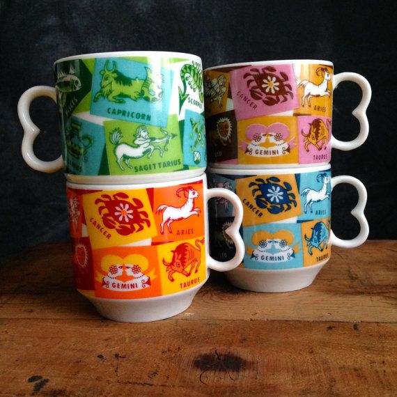 2f835f850a1 Vintage Zodiac Symbol Coffee Mugs, Set of 4 | Fifth & Crowe: Vintage ...