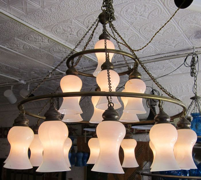 Egyptian Handblown Chandelier With White Bell Shaped Glass