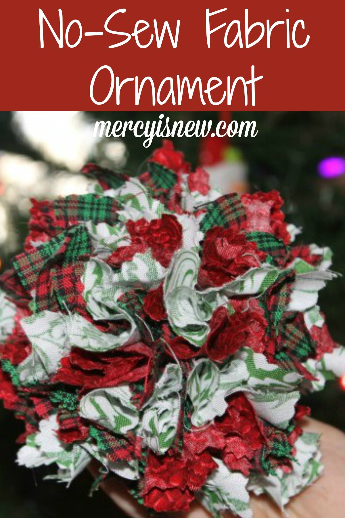 No-Sew Fabric Ornament Tutorial - super easy and lovely ornament ...