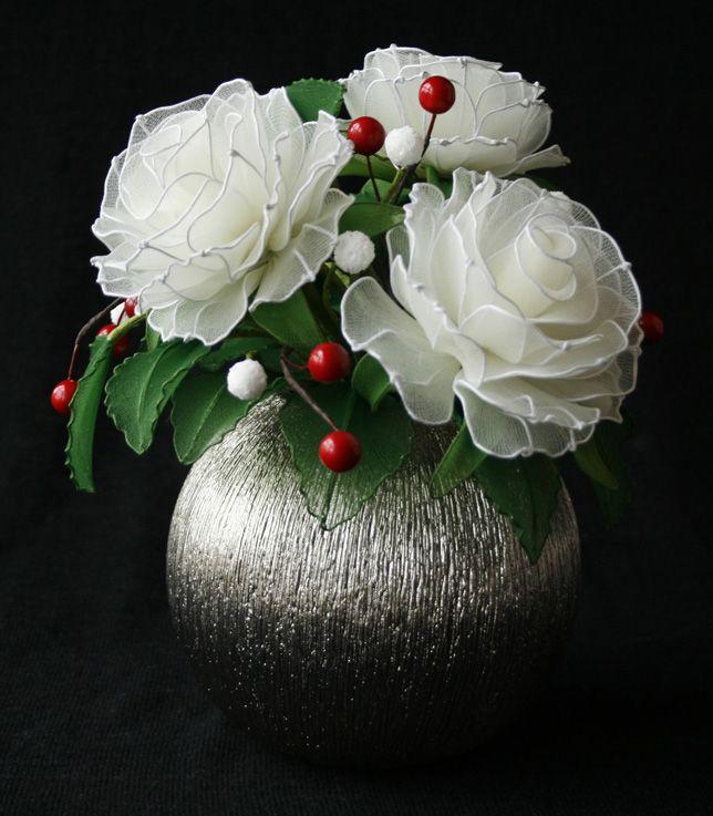 Roses blanches et Coquelicots, par Christine L. | Fleurs de Siam ...