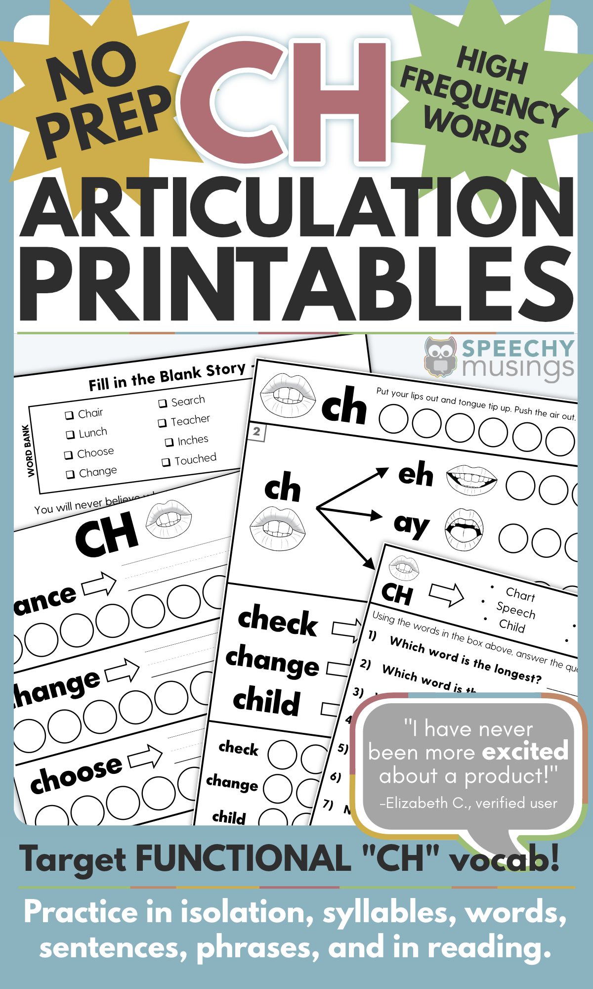 No Prep Articulation Printables Using Functional High
