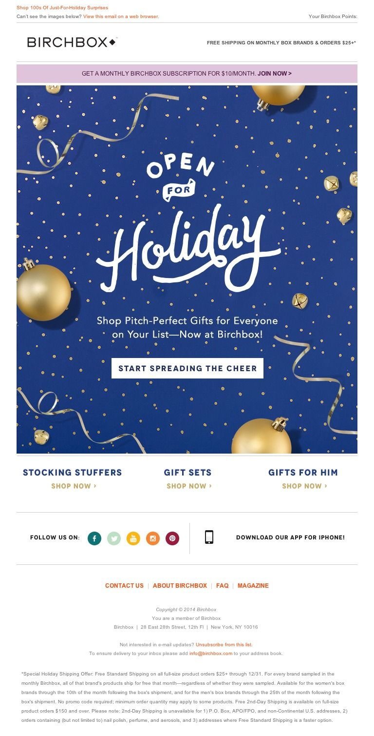 Newsletter Birchbox   It's Happening! Shop Holiday Gifts Galore at