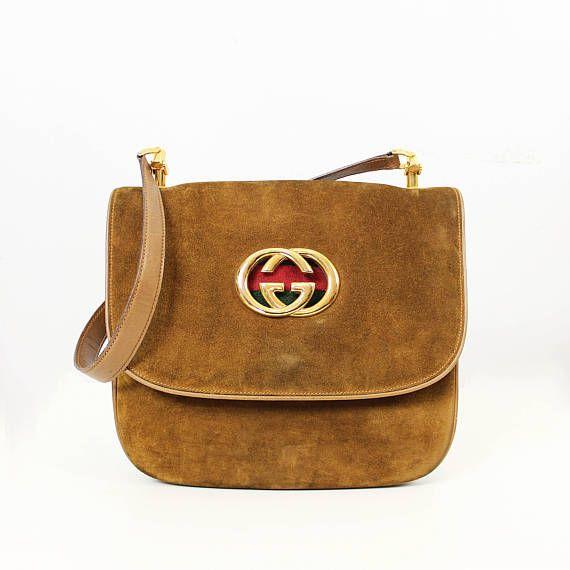 73ec08b58 vintage 70s GUCCI bag / 1970s Gucci brown suede purse / double ...