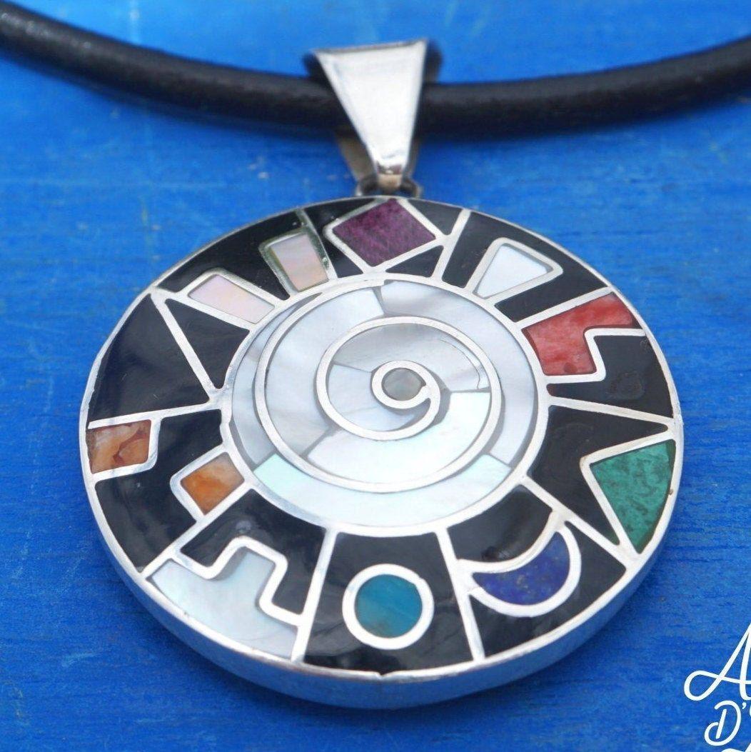 Peru Cusco Flower Tree of life 950 Silver Necklace /& Pendant Boho Shaman Peruvian Inca 7 Colors Chakra Pachamama Earth Gift