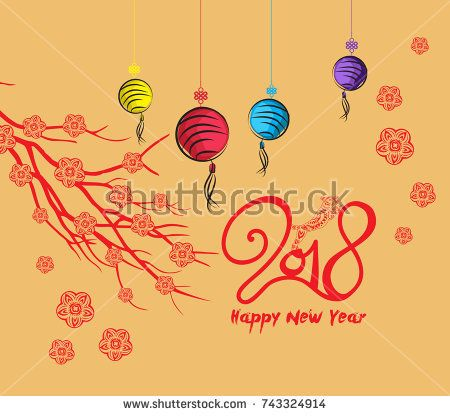 Happy new year, dog 2018,Chinese new year greetings, Year of dog