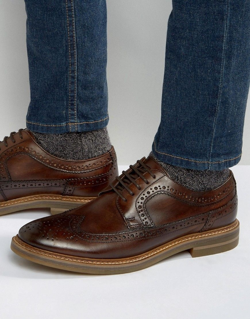Turner Leather Brogue Shoes in Tan - Tan Base London F9QQmDcU5