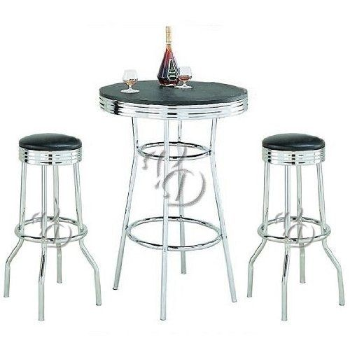 Retro 3 Piece Chrome Bar Stools And Table Set By Coaster Home Furnishings Http