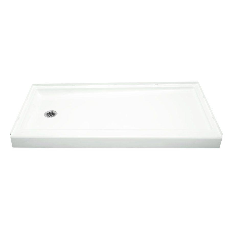 Shop Sterling 60-in L x 30-in W Ensemble White Vikrell Shower Base ...