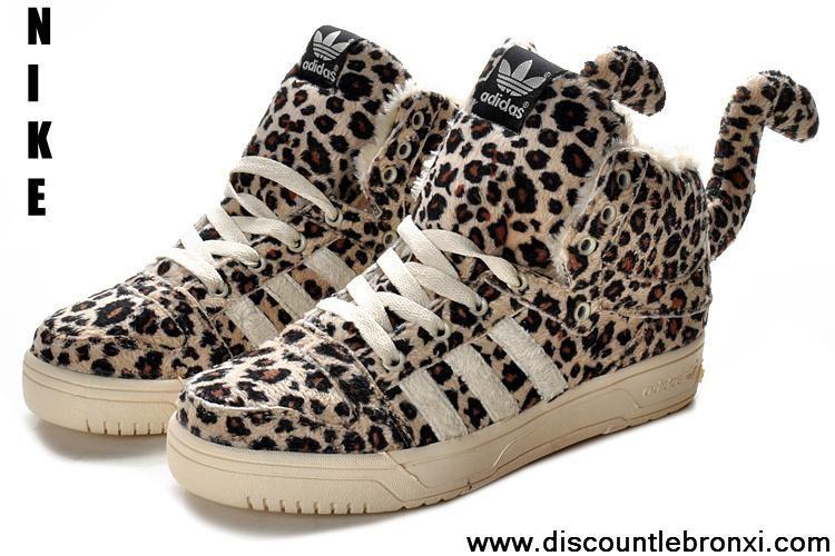 2013 Adidas X Jeremy Scott Leopard Villus Shoes Sports Shoes Shop