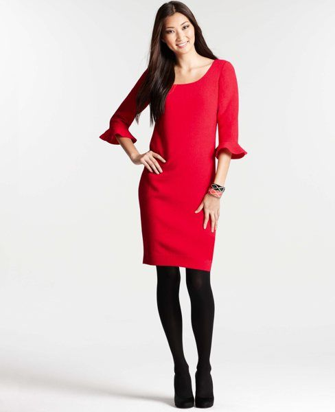 023048d5616 Ann Taylor Crinkle Crepe 3 4 Ruffle Sleeve Dress