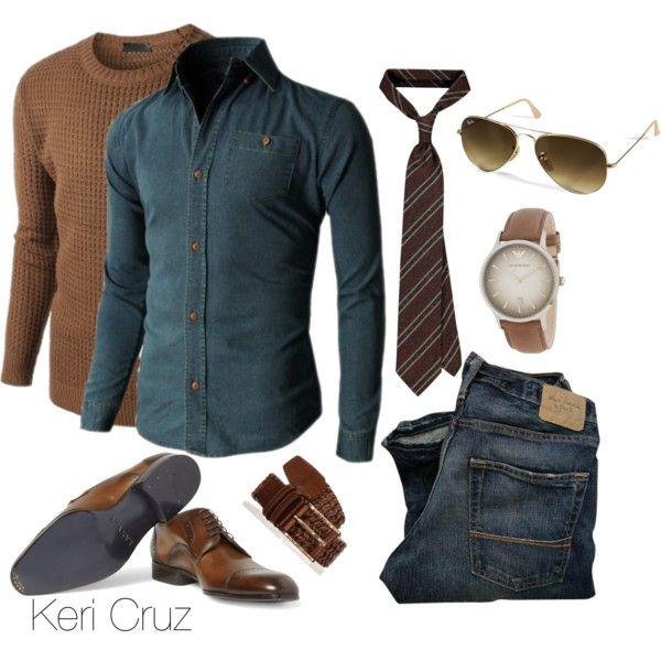 Men's Winter Fashion by keri-cruz on Polyvore featuring moda, Ray-Ban, Doublju, Lanvin and Emporio Armani