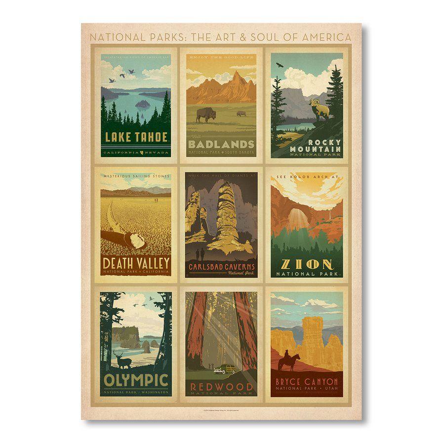 National Park Multi Print 2 Vintage Advertisement Framed Wall Art Kids Art Wall Frames Vintage Advertisement