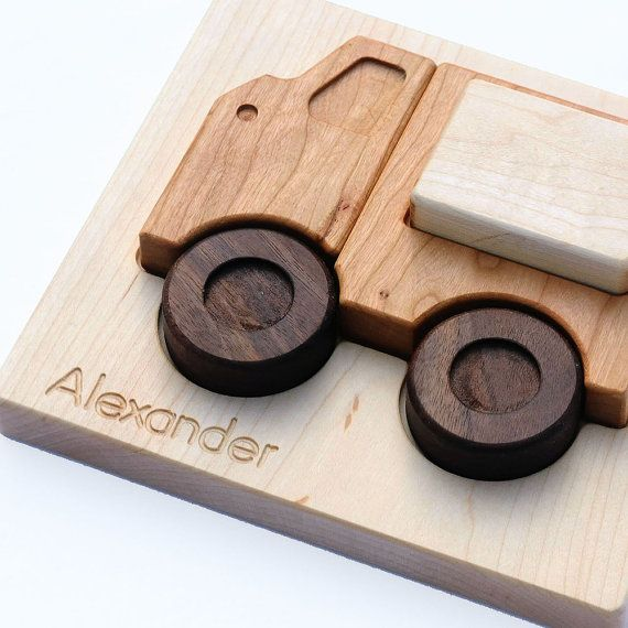Personalized Toy, Wood Truck Puzzle for Toddlers, Eco Friendly and Educational