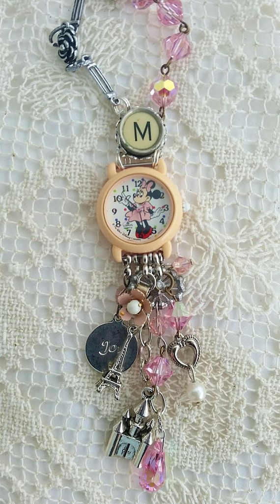 Your place to buy and sell all things handmade -  Minnie Mouse Watch Necklace, Walt Disney Charm Jewelry, M Antique Typewriter Key, Upcycled Jewelry, - #bohojewelrydiy #buy #diyjewelryholder #handmade #place #sell #things #upcycledjewelry