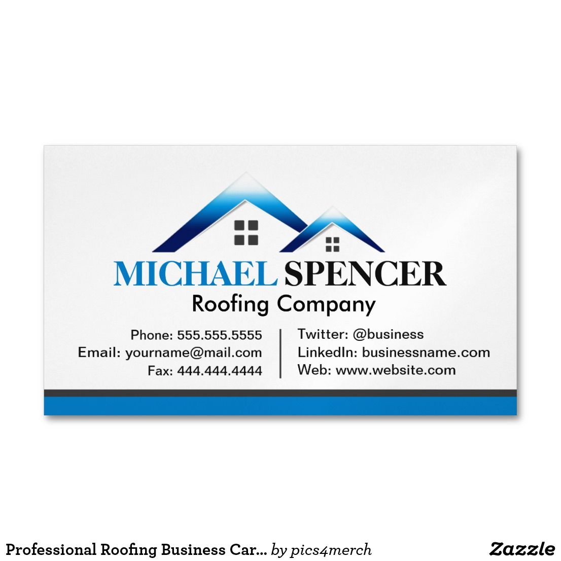 Professional Roofing Business Card Template Zazzle Com In 2020 Roofing Business Business Card Template Company Business Cards