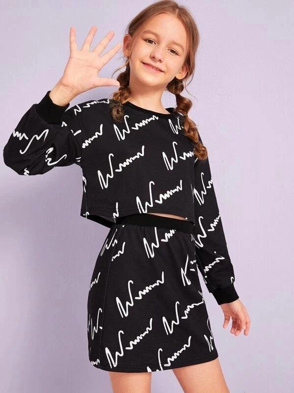 Girls Graphic Print Pullover & Skirt Set