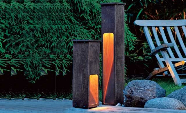 gartenleuchte aus holz kupfer led und lampe pinterest selbst bauen blickfang und kupfer. Black Bedroom Furniture Sets. Home Design Ideas