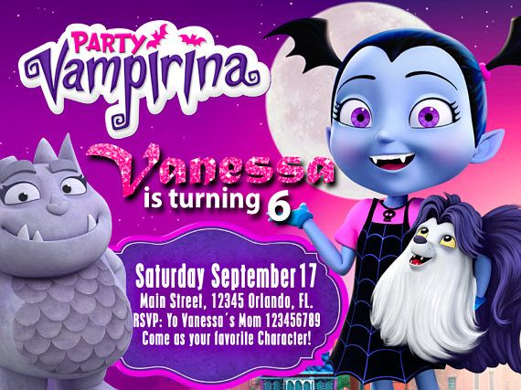 Birthday Invitation Disney Vampirina We Deliver Your Order