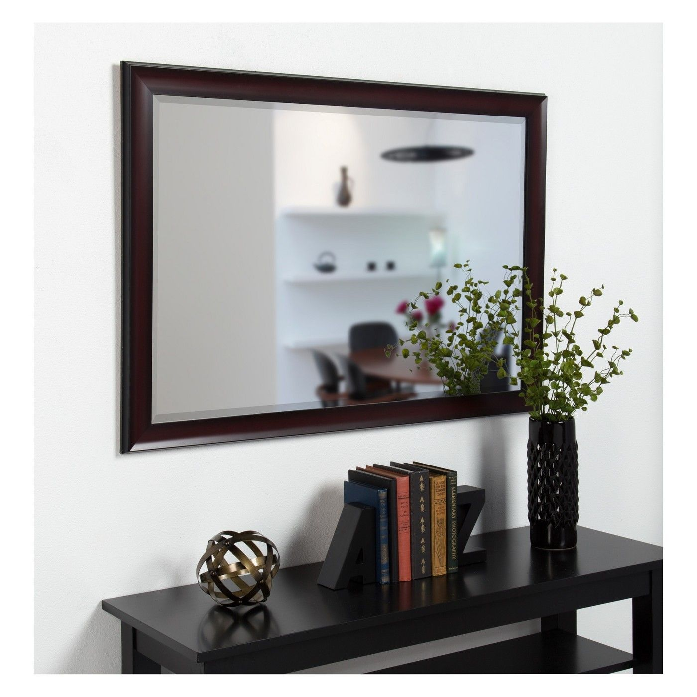 Kate & Laurel 28X40 Scoop Framed Beveled Decorative Wall Mirror