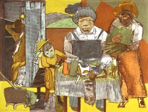 Romare Bearden.  Ethching/Aquatint