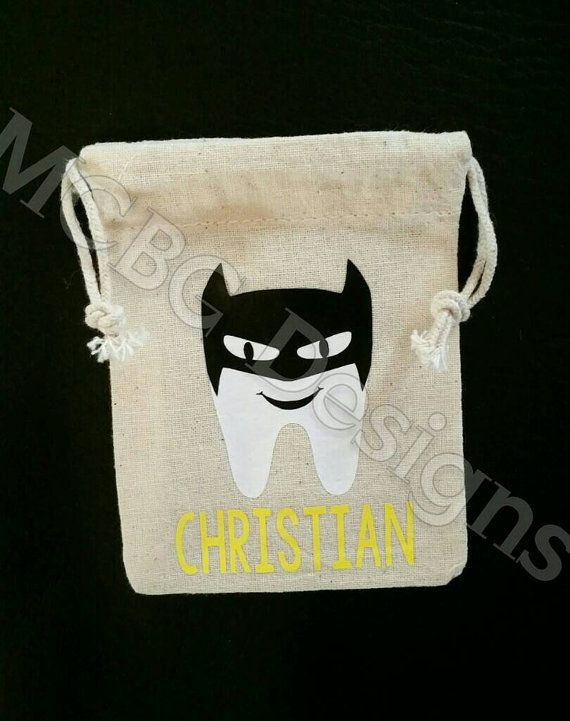 personalized drawstring bag Tooth Fairy pouch 3 x 4