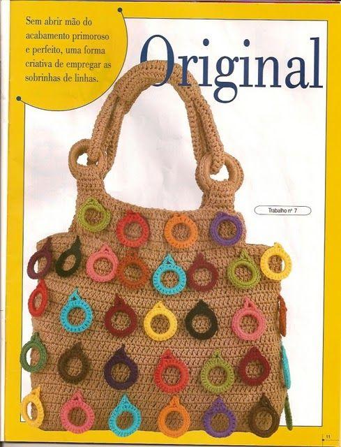 Bolso de Crochet con Anillas de Adorno - Patrones Crochet | tejidos ...