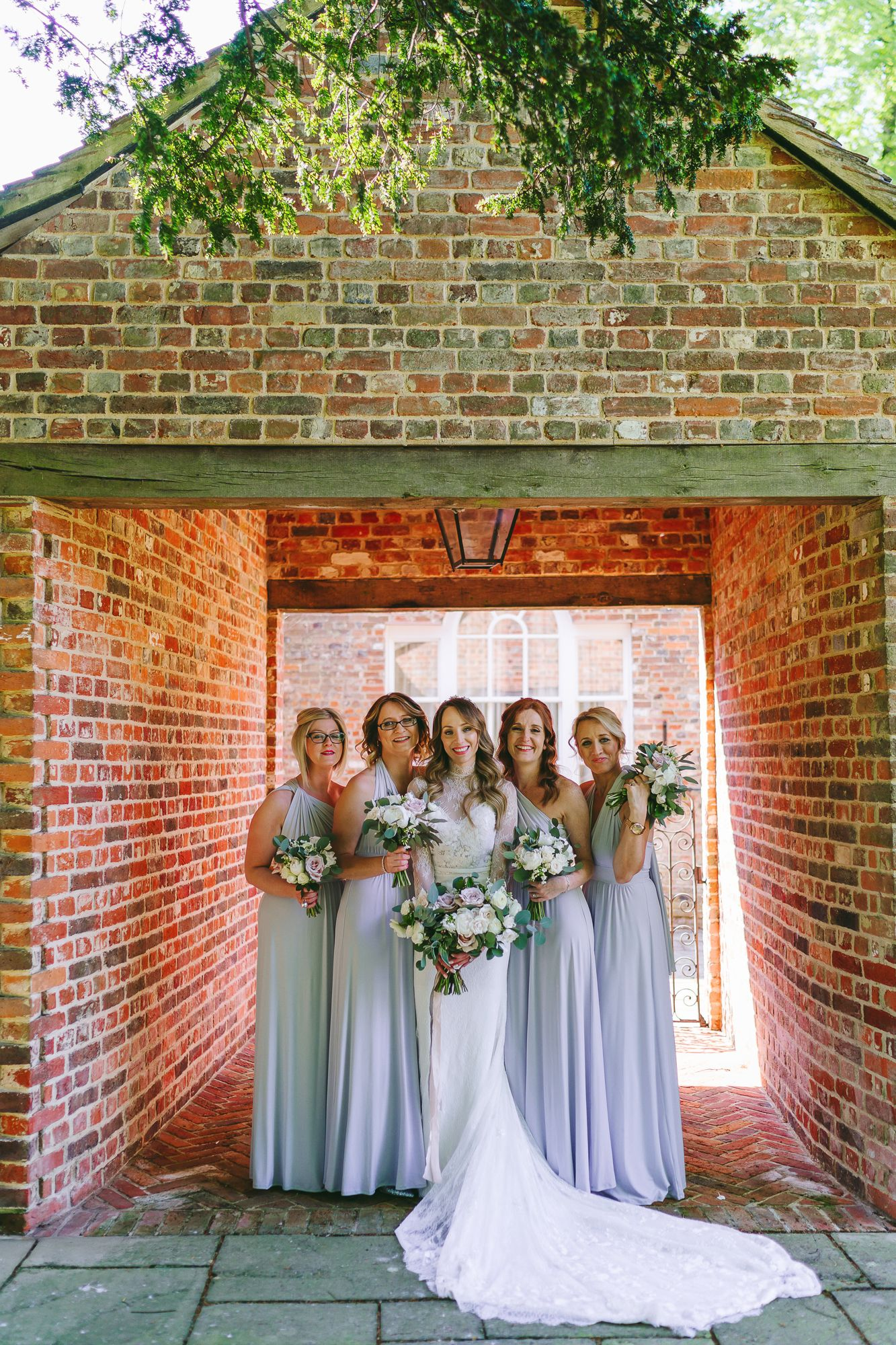 A Sienna Von Hildemar Dress + Celestial Headpiece for a Romantic Wiltshire Country House Wedding Bridesmaids wear pale blue dresses. Images by Aga Tomaszek Photography