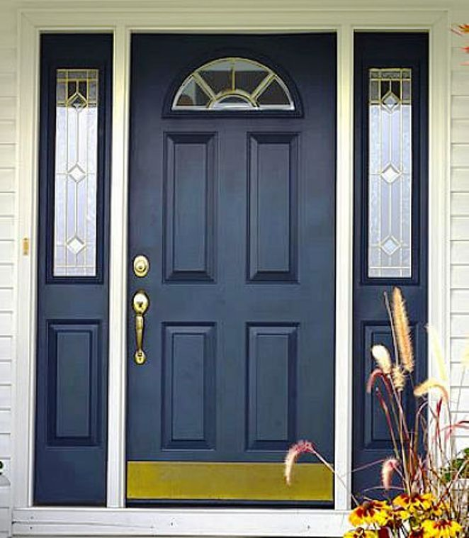 Front Door Inspiration: Black Front Doors With Sidelights Design Inspiration