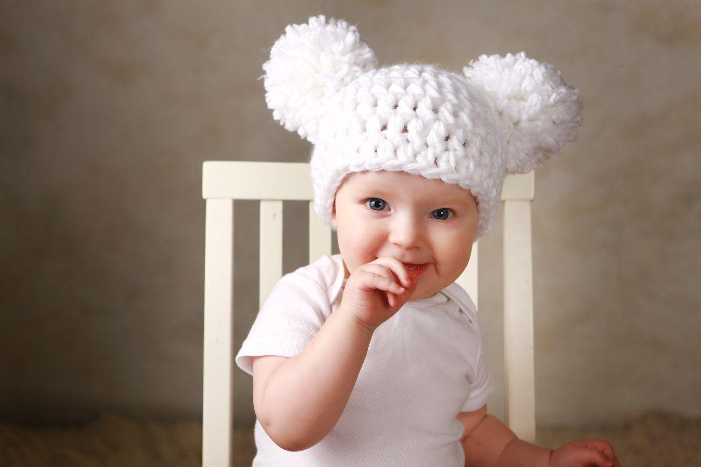 a7b16f61 Baby Girl Christmas Hat Chunky White Crochet Knit Infant Double Pom ...