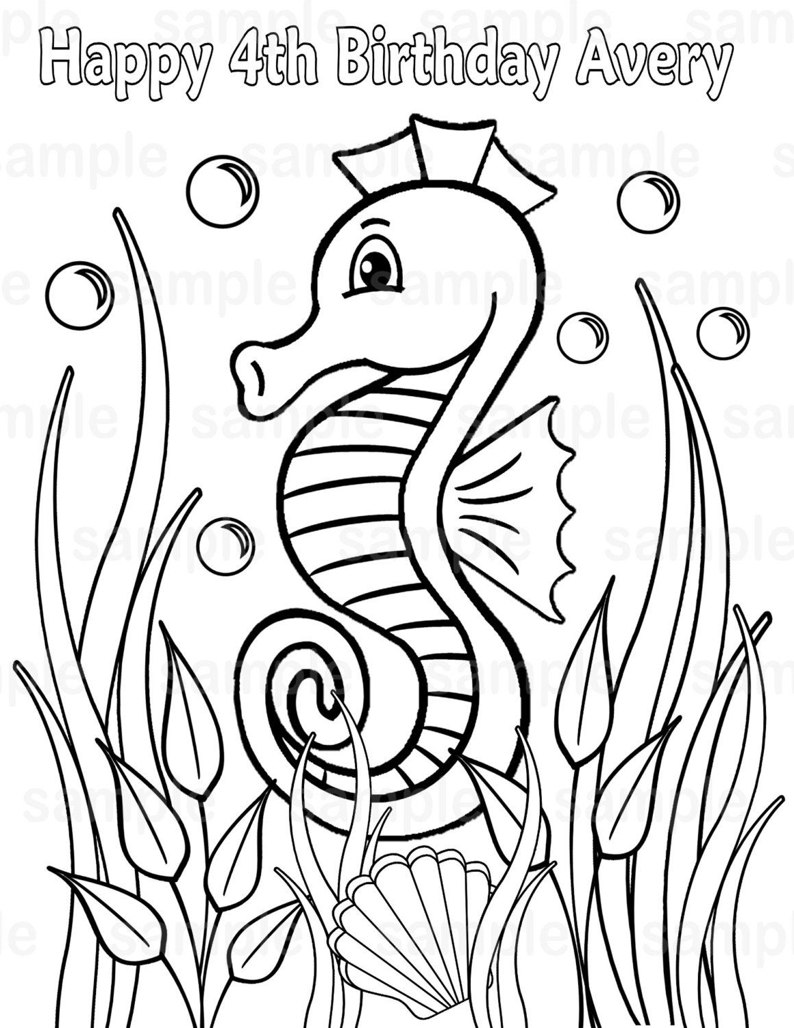 Personalized Printable Sea Horse Under The Seahorse Birthday Party Favor Childrens Kids Coloring Page Activity PDF Or JPEG File