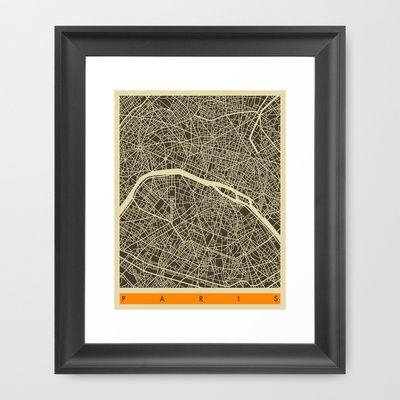 Paris Map Framed Art Print by Jazzberry Blue - $36.00