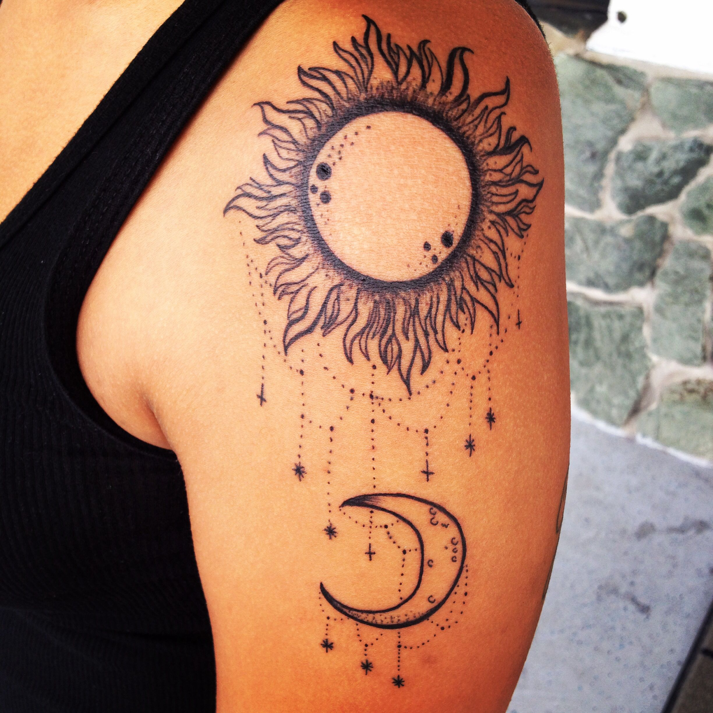 Moon And Cloud Tattoo Small: Sun And Moon Tattoo Done On My Friend