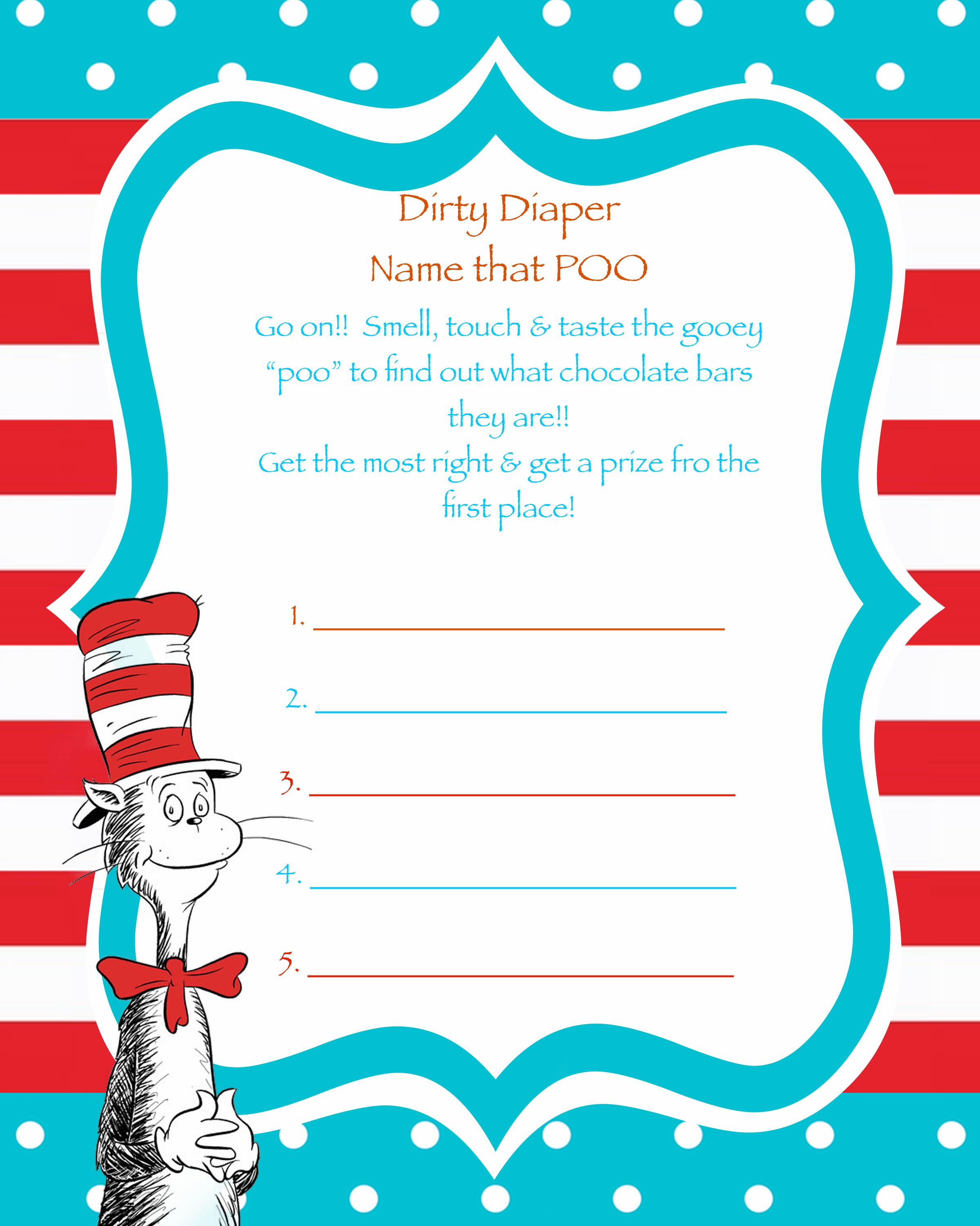 Dr. Sseuss Baby shower game- Dirty Diaper