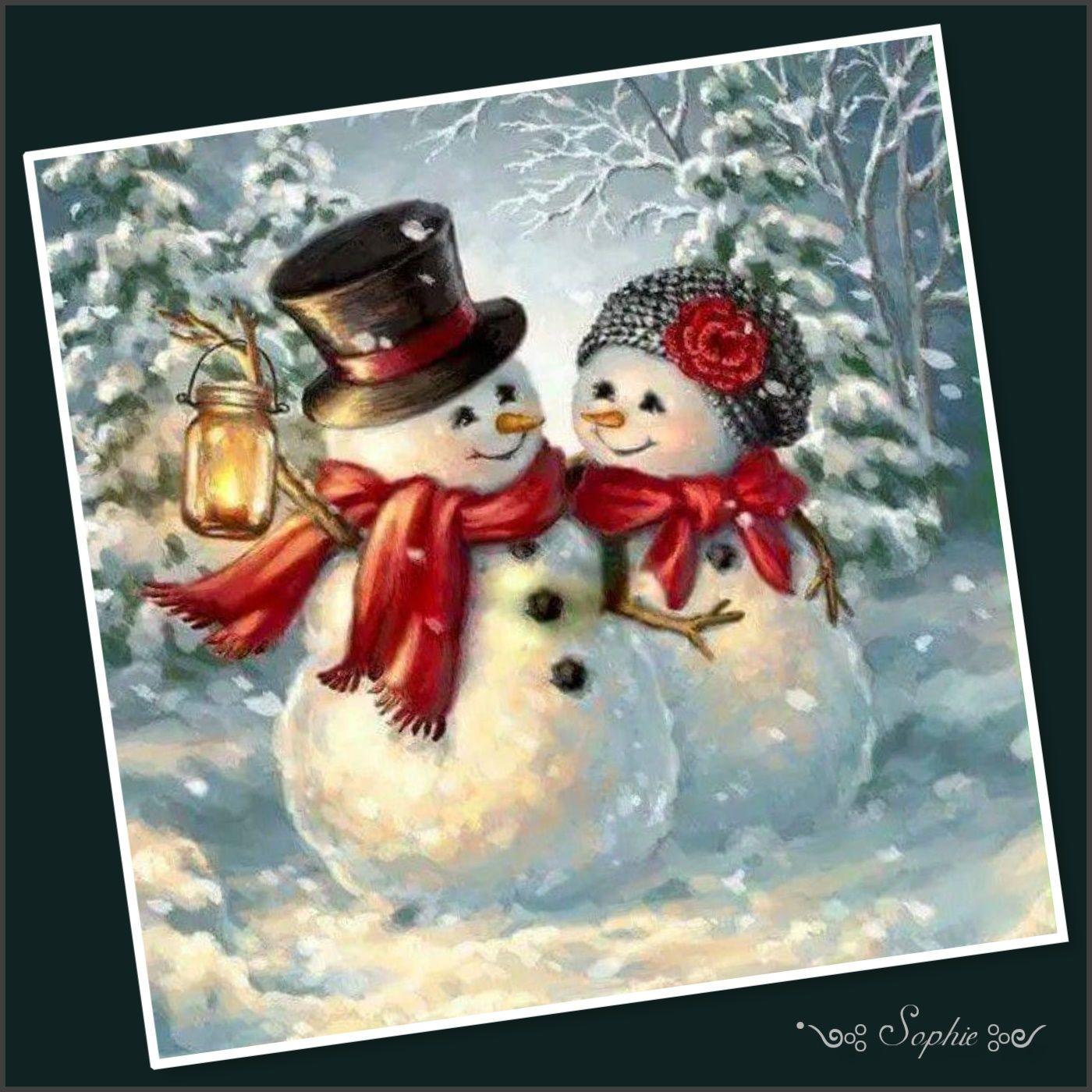 Открытки на новый год. со снеговиком