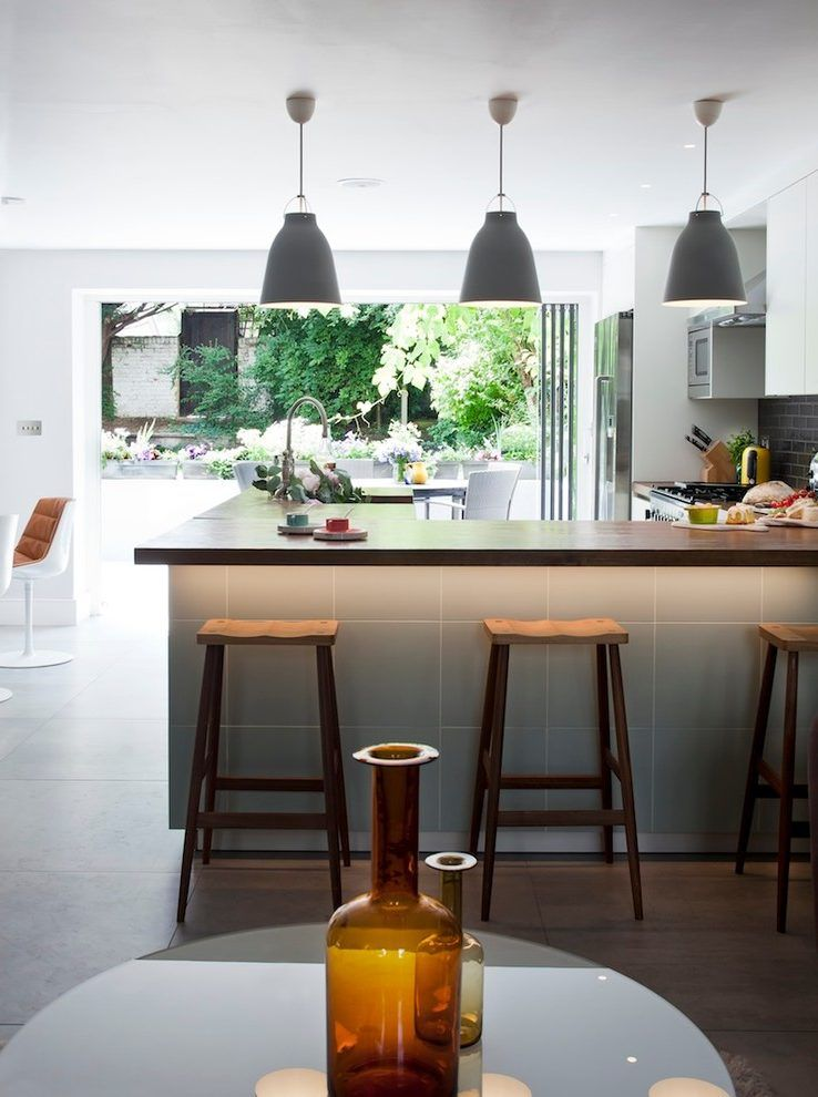 Lights Above Breakfast Bar Kitchen Contemporary With Black Subway