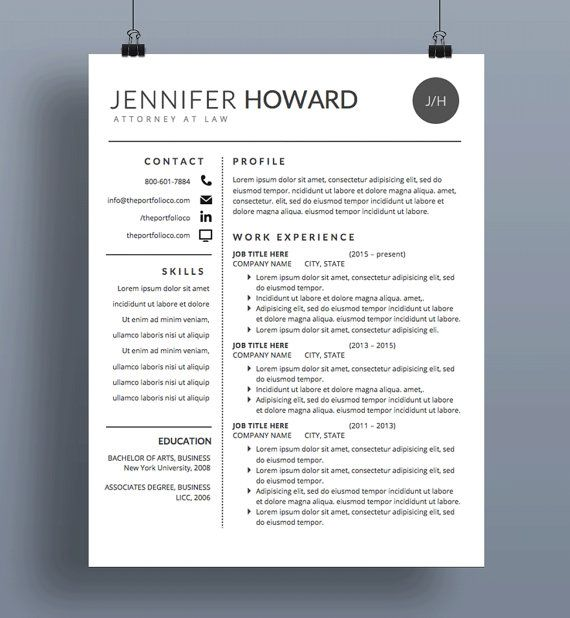 Modern Resume Template  Cv  Cover Letter  Creative Resume