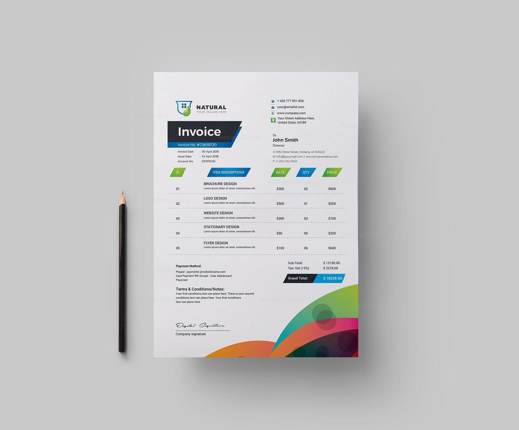 Colorful Creative Invoice Design Template 036 5 99 Https Templatesengine Com Image Colorful Creativ Invoice Design Invoice Design Template Invoice Template