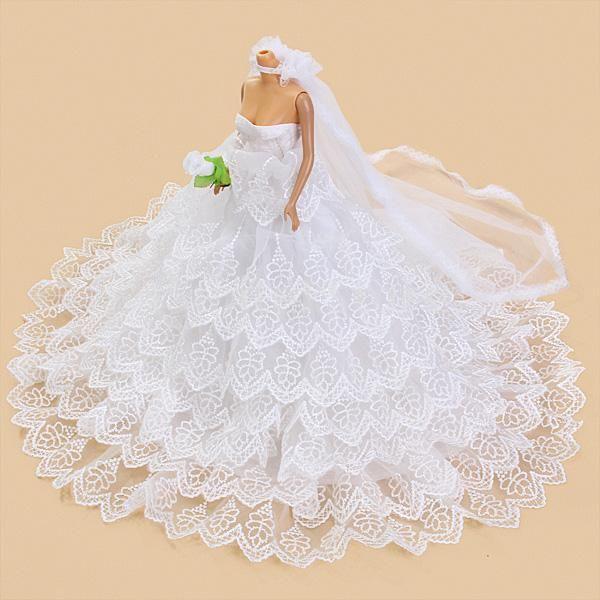 Brautkleid Hochzeit Shulterfrei Kleid mit Schleier für Barbie-Puppen ...