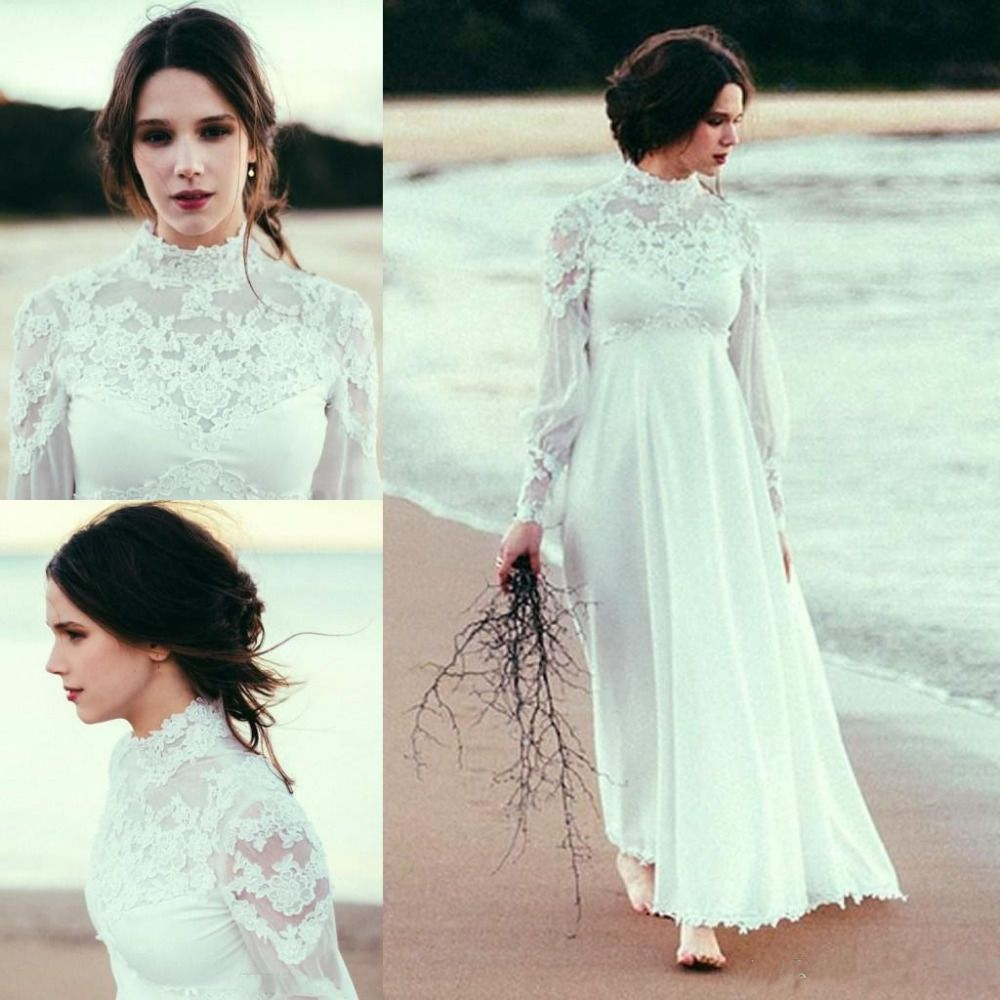 Cool great bohemian wedding dress high neck long sleeves lace