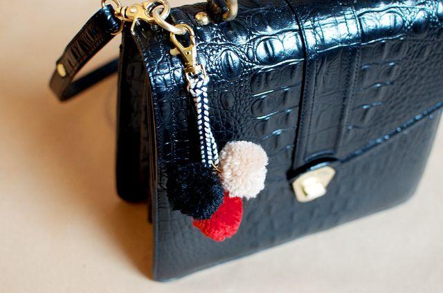 DIY pom pom bag charm by apairandaspare, via Flickr