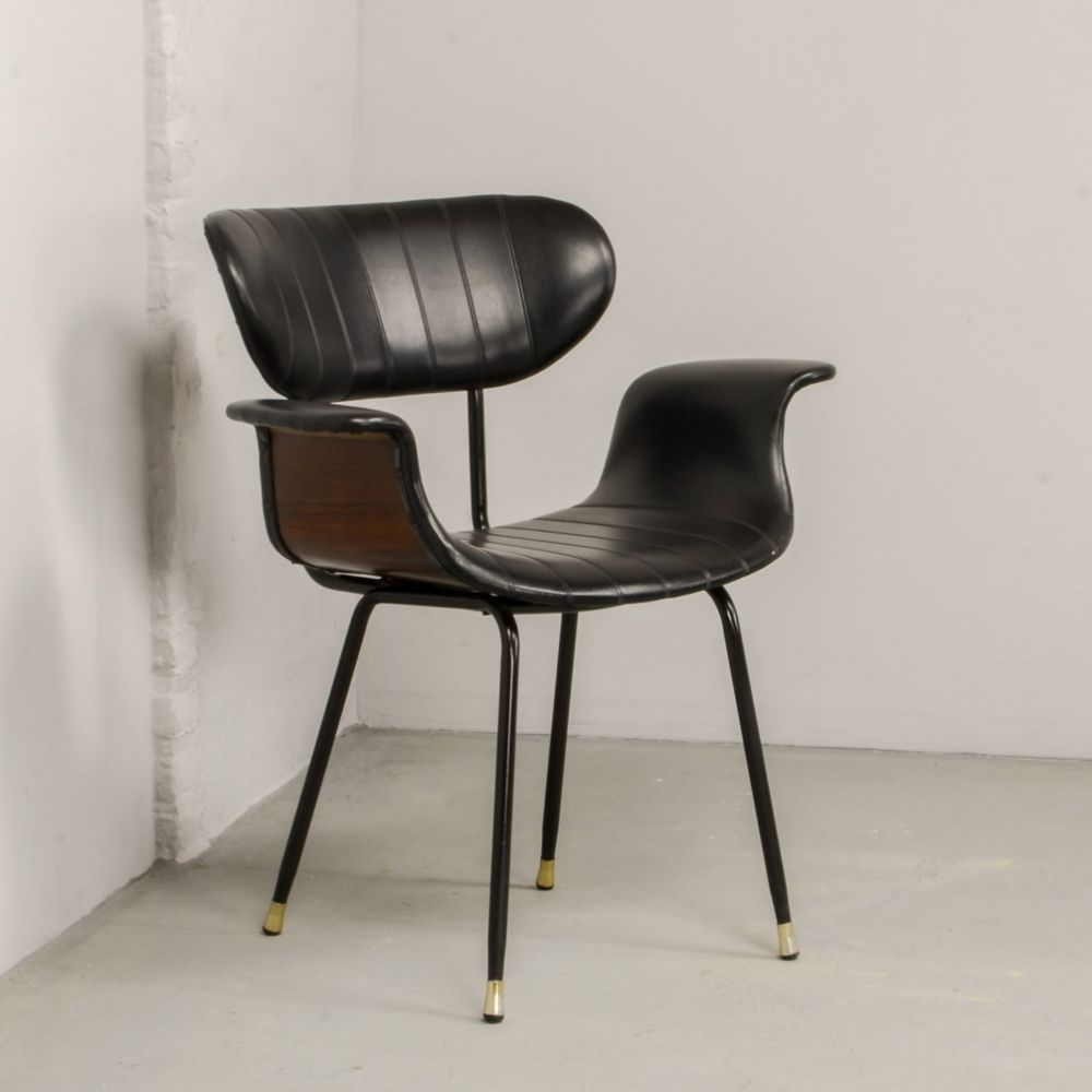 Mid Century Rosewood Black Leatherette Italian Swan Curved Side Chair 1960s Mobilier De Salon