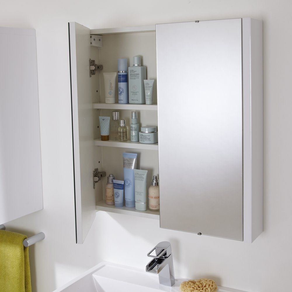 Trueshopping 620mm Gloss White Minimalist Bathroom Mirror Storage ...