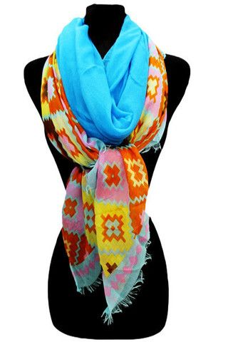 Missoni Pattern Scarf-Blue - The Whimsical Owl ON SALE $6 EACH