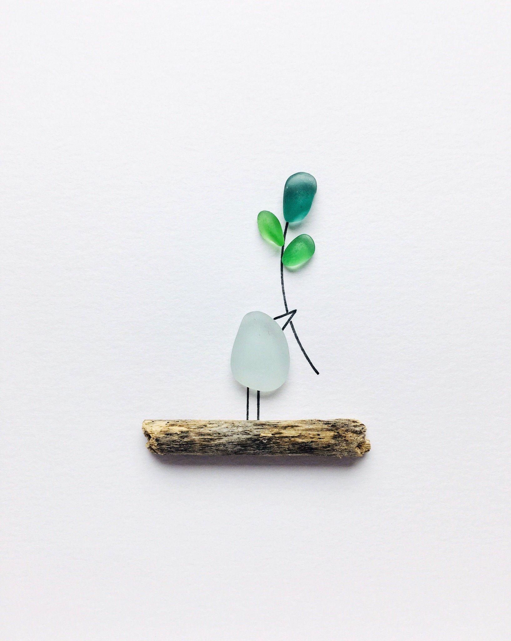 Photo of Sea Glass Art Little Bird Framed Sea Glass Picture