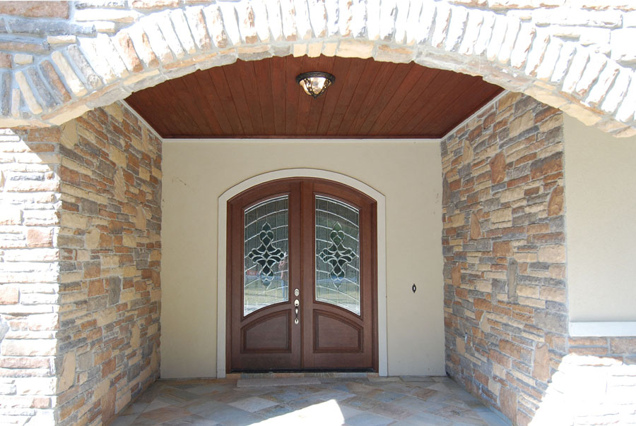 French Wood Entry Doors Stone Elevation Kingwood Remodeling MHR Modern Home Renovation In